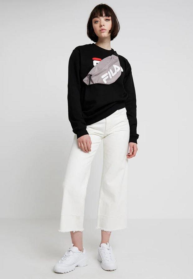 стильные образы весна-лето: черная кофта fila белые штаны