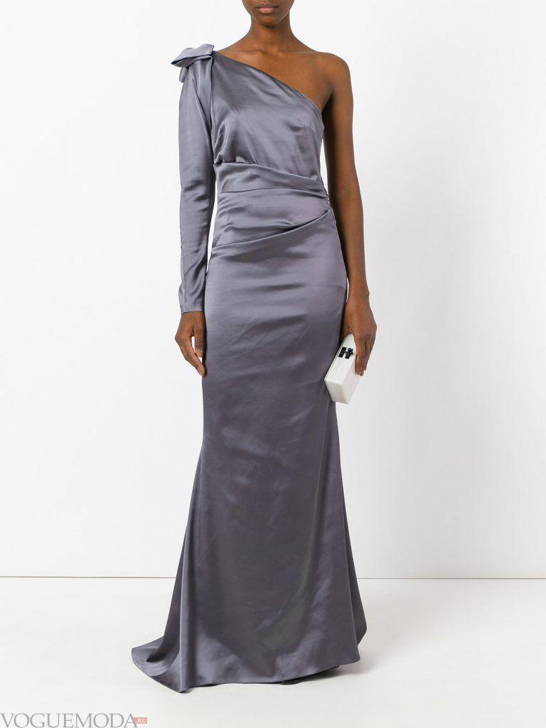длинное выпускное платье на одно плечо серое