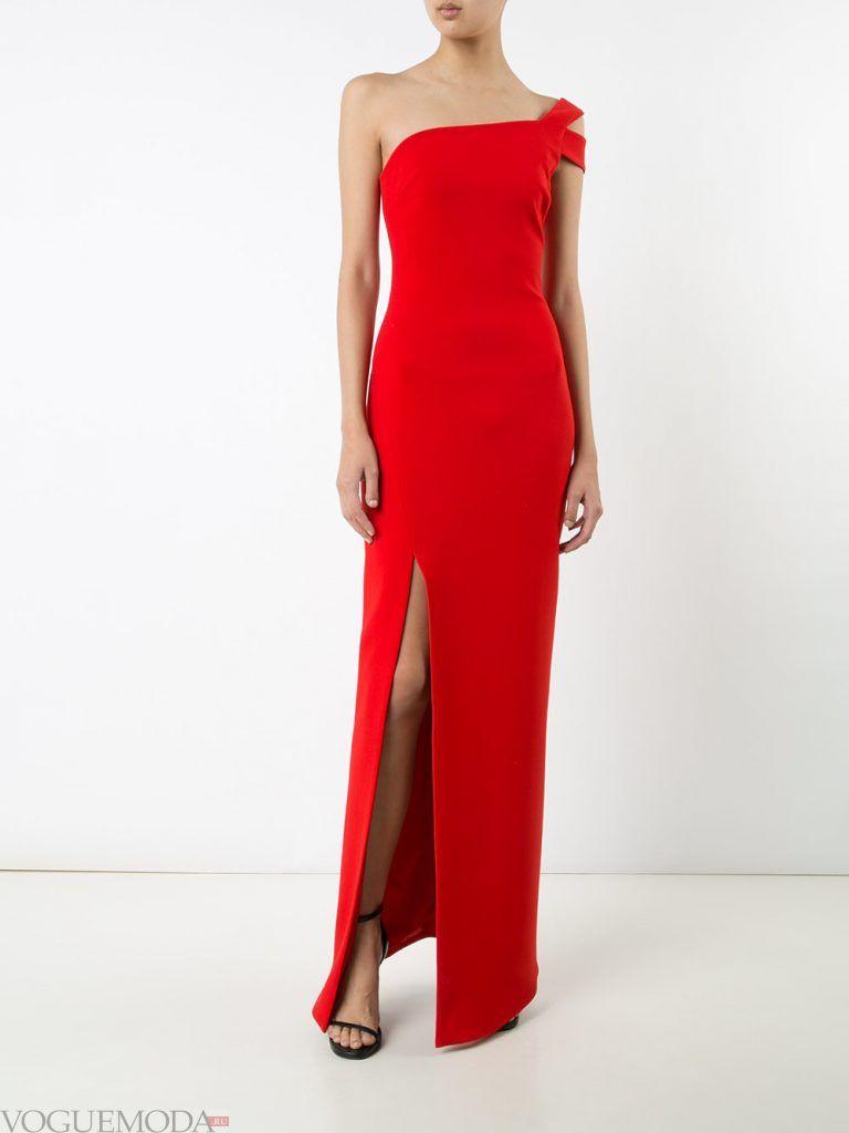 длинное выпускное платье с разрезом красное
