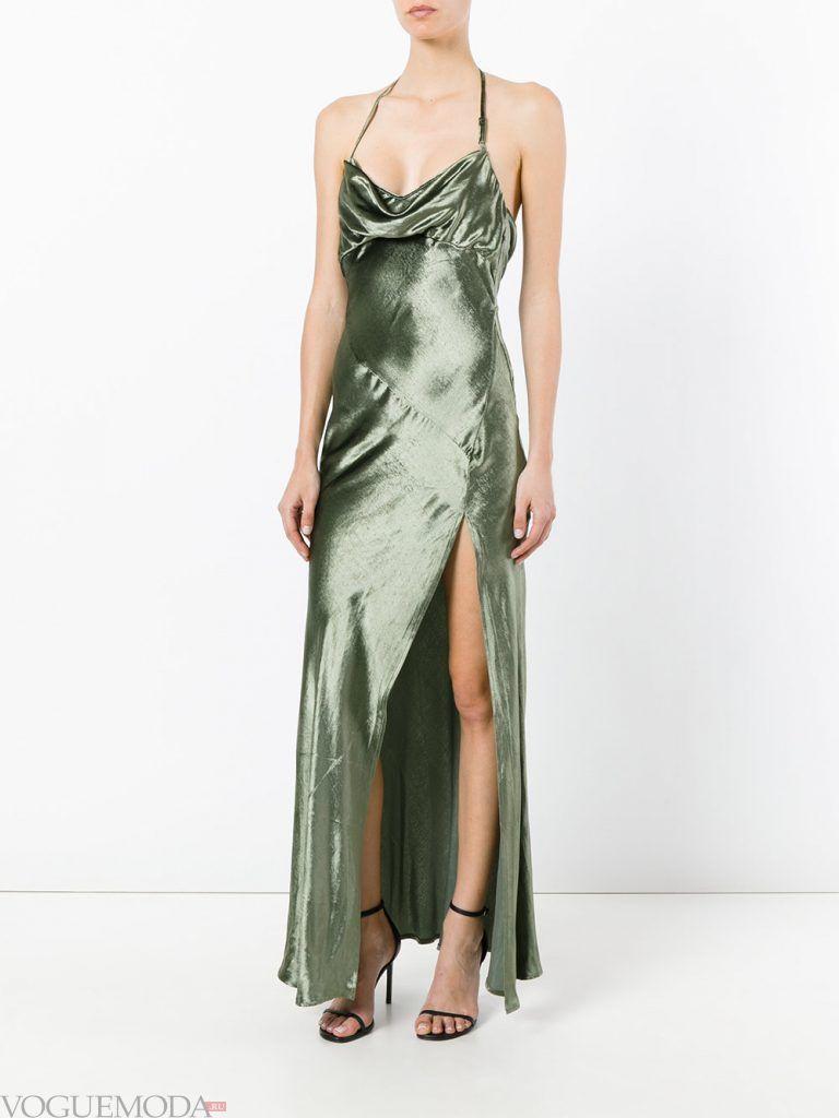 длинное выпускное платье с разрезом зеленое