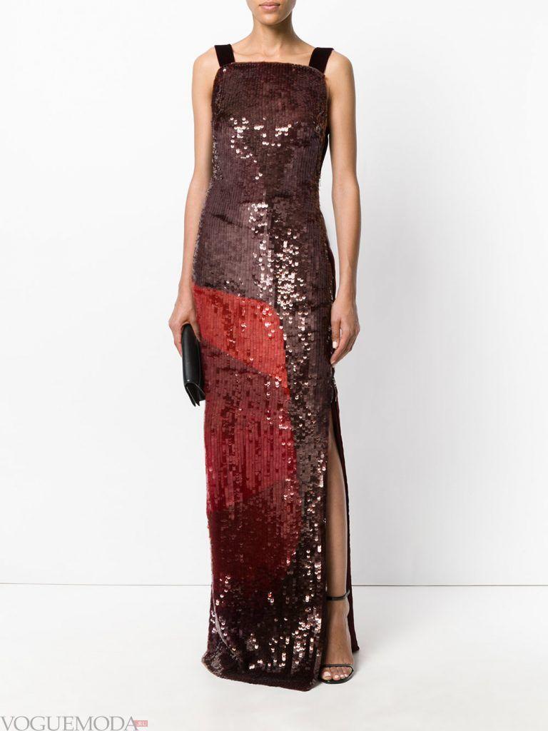 длинное выпускное платье с разрезом блестящее