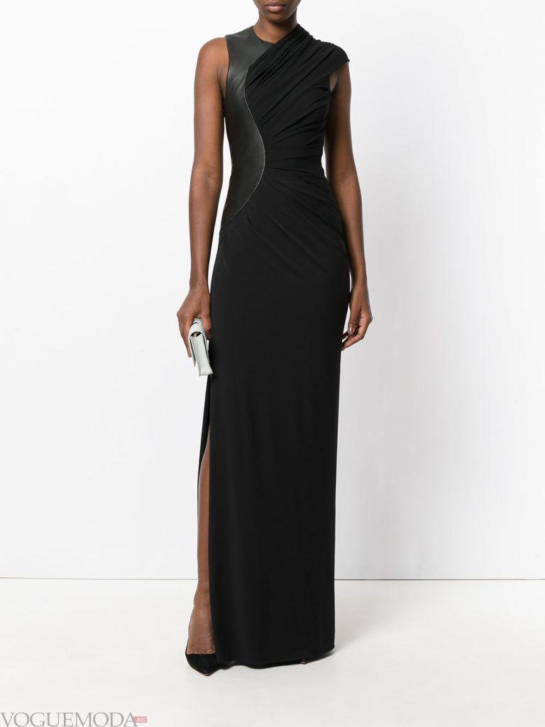 длинное выпускное платье с разрезом с декором