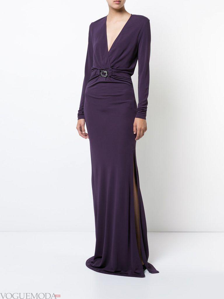 длинное выпускное платье с разрезом и поясом