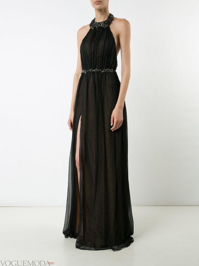 длинное выпускное греческое платье черное