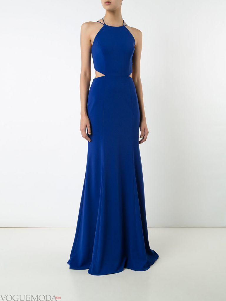 длинное выпускное греческое платье синее