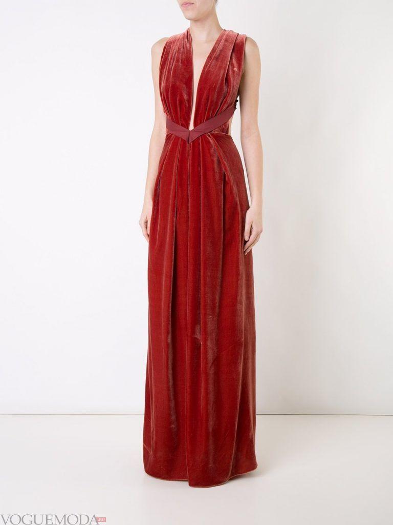 длинное выпускное греческое платье красное