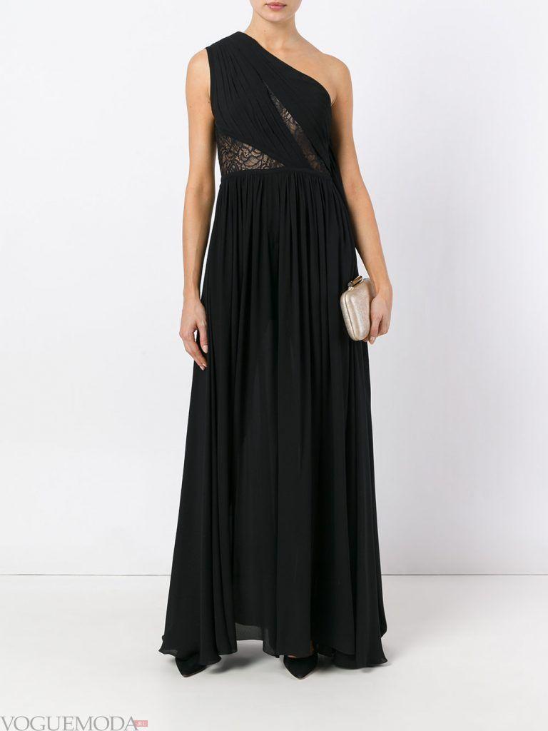 длинное выпускное платье на одно плечо черное