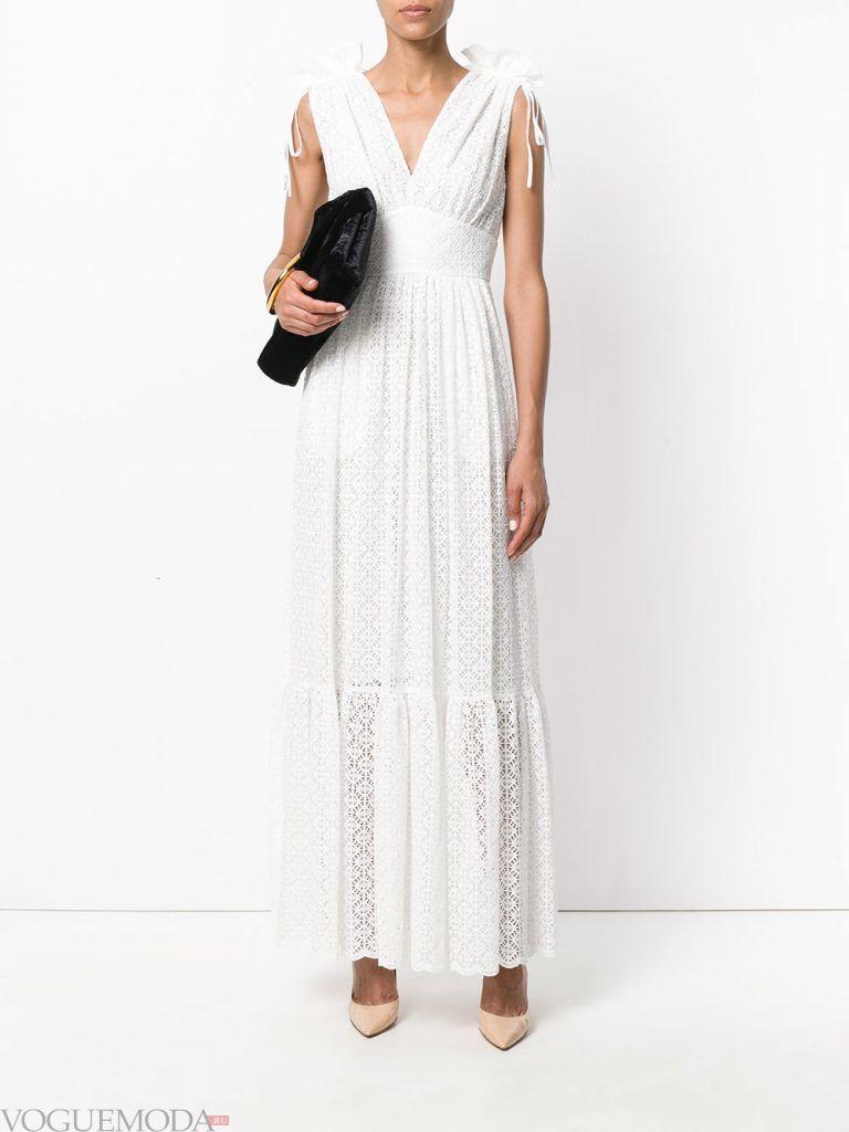 длинное выпускное греческое платье белое