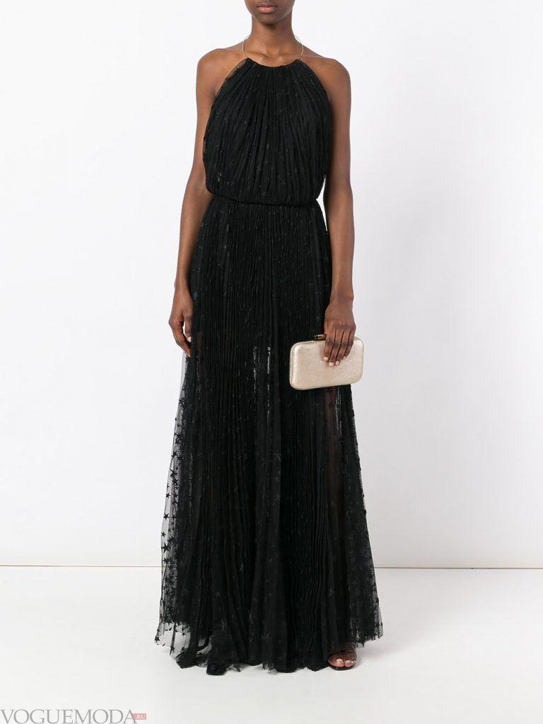 длинное выпускное гофрированное платье темное