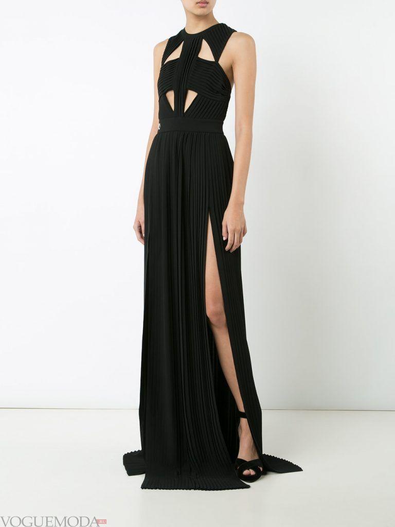 длинное выпускное гофрированное платье черное