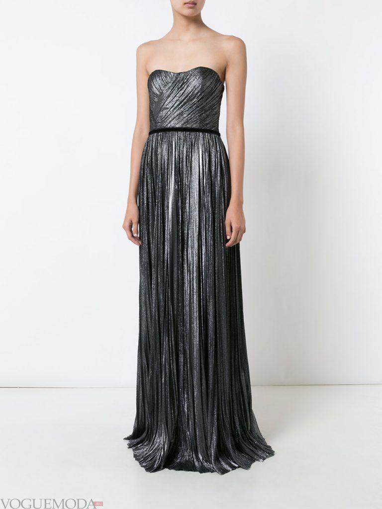 длинное выпускное гофрированное платье серое