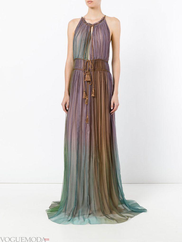 длинное выпускное гофрированное платье цветное