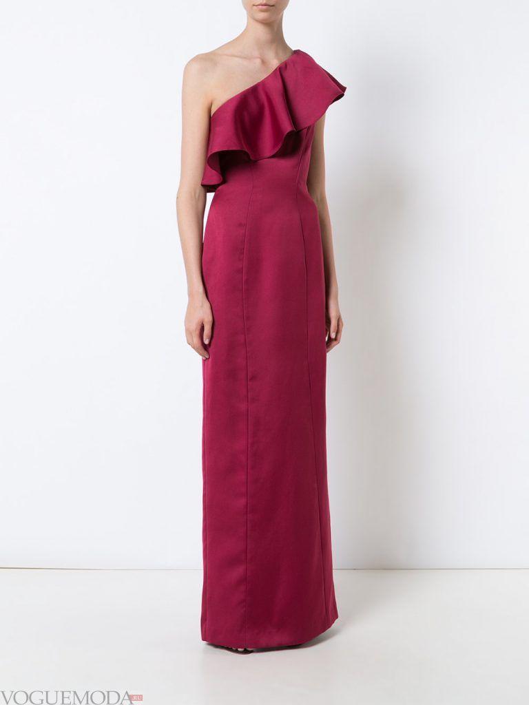 длинное выпускное платье на одно плечо бордовое