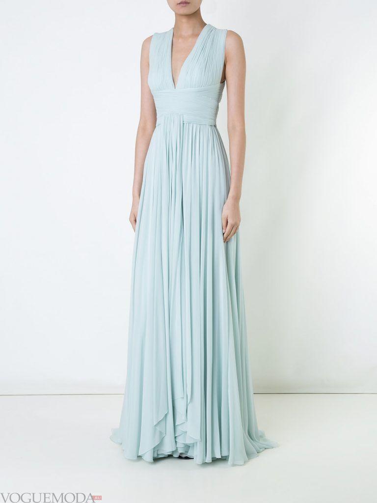 длинное выпускное гофрированное платье голубое