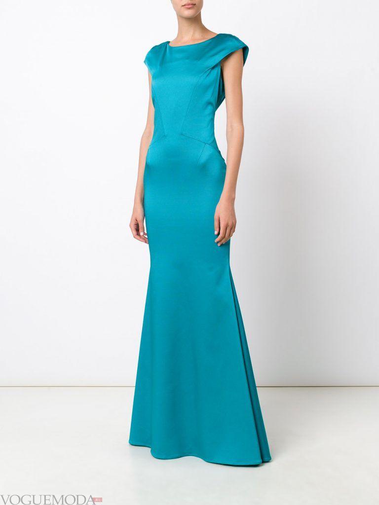 длинное голубое выпускное платье русалка