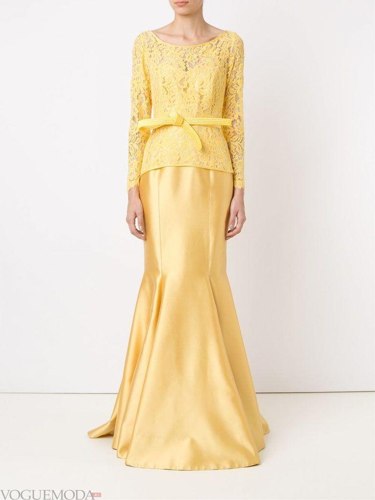 длинное выпускное платье русалка желтое