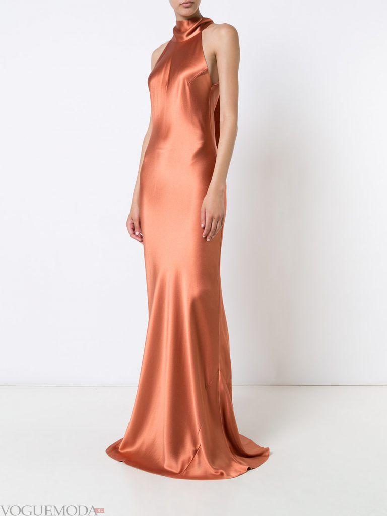 длинное выпускное платье русалка атласное