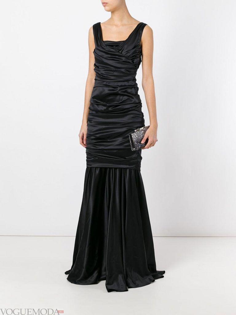 длинное выпускное платье русалка черное
