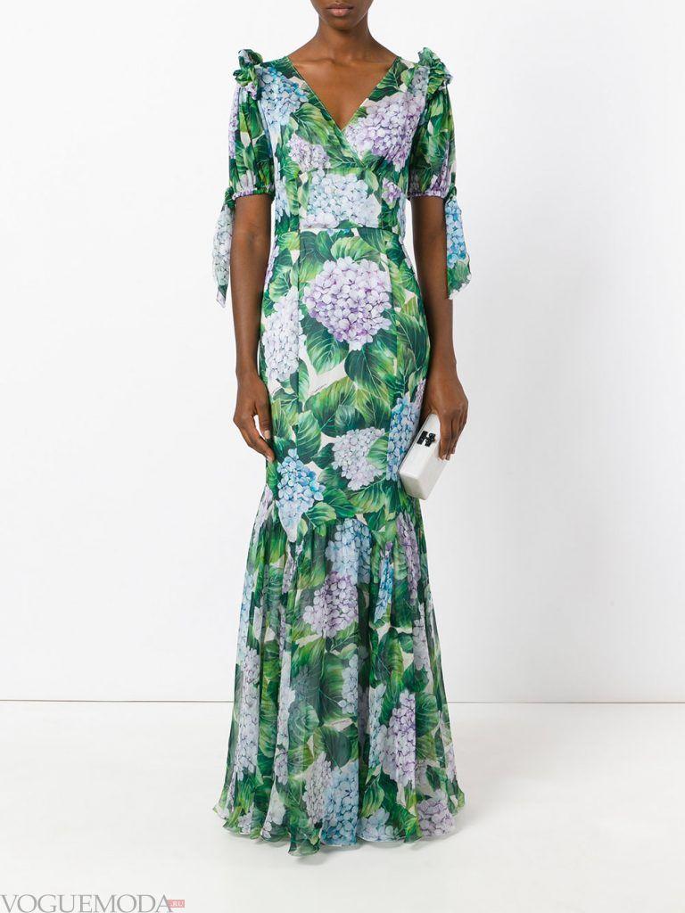 длинное выпускное платье русалка с принтом