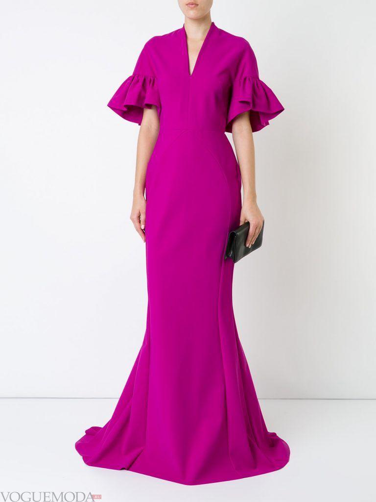 длинное выпускное платье русалка фуксия