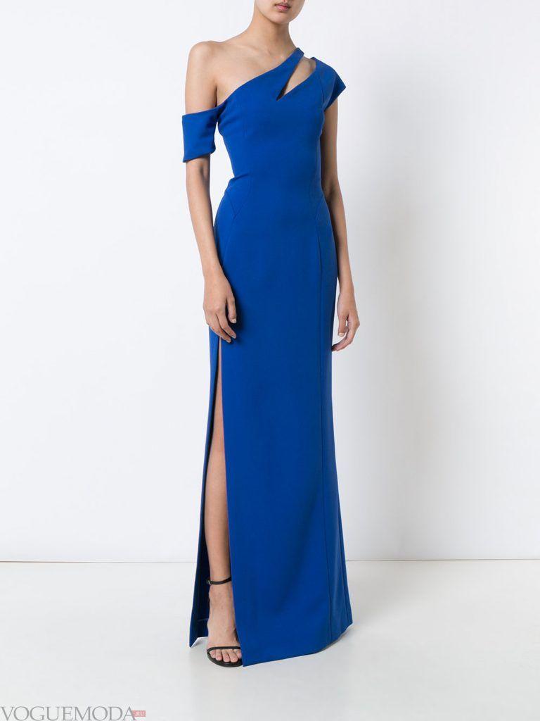 длинное выпускное платье на одно плечо яркое