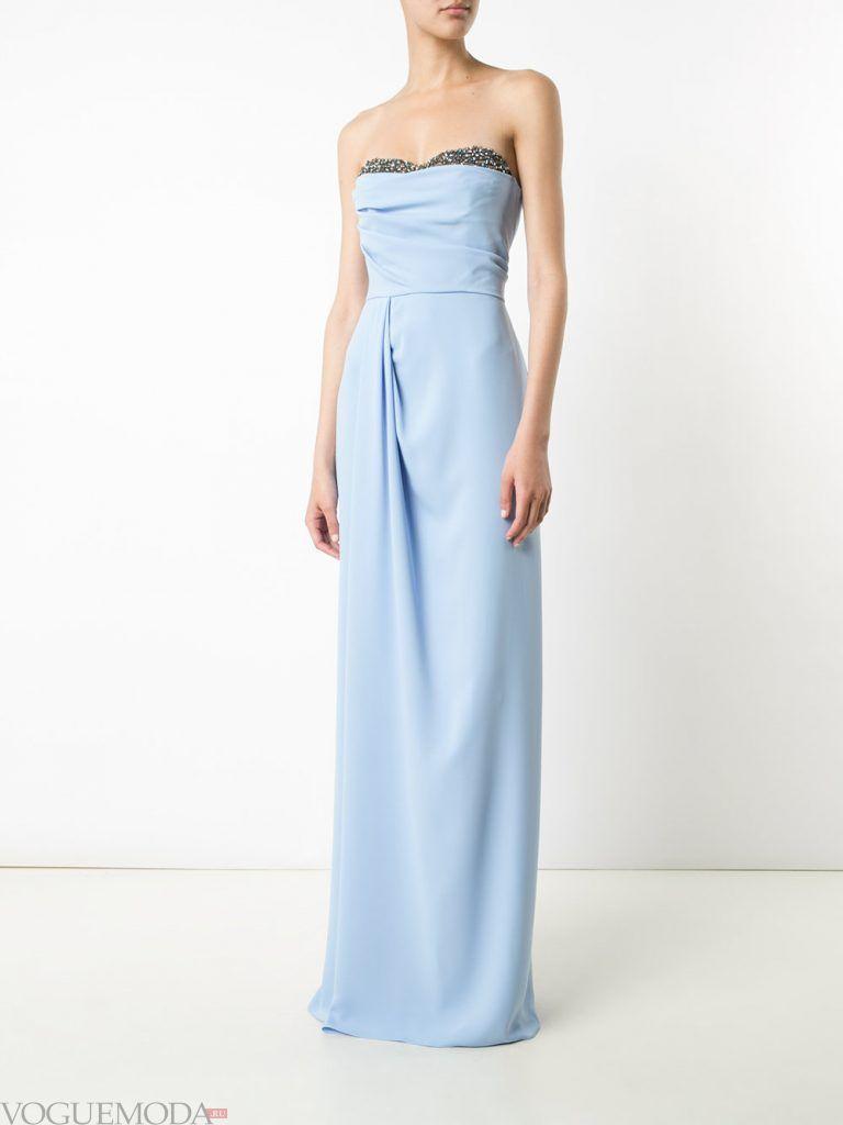 длинное выпускное платье бюстье голубое