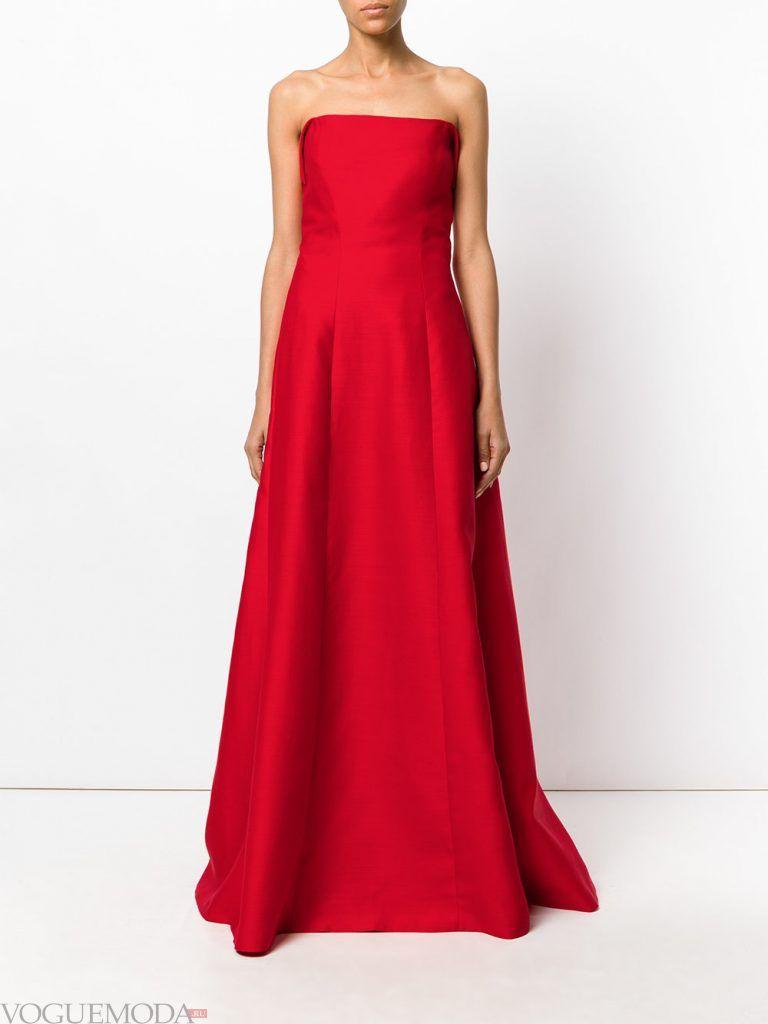 длинное выпускное платье бандо красное