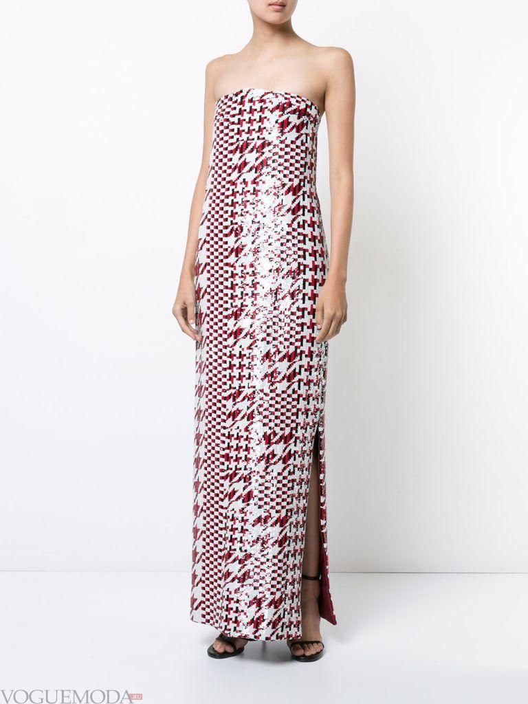 длинное выпускное платье бандо с принтом