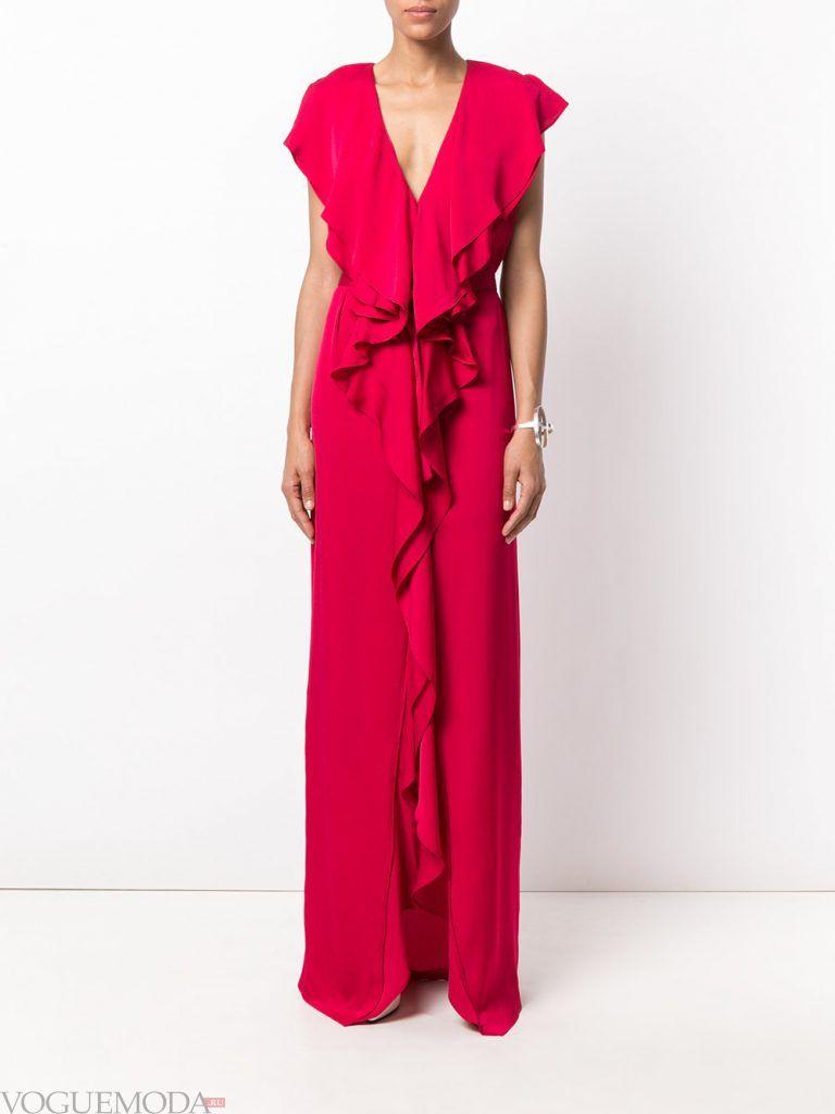 длинное выпускное платье легкое красное
