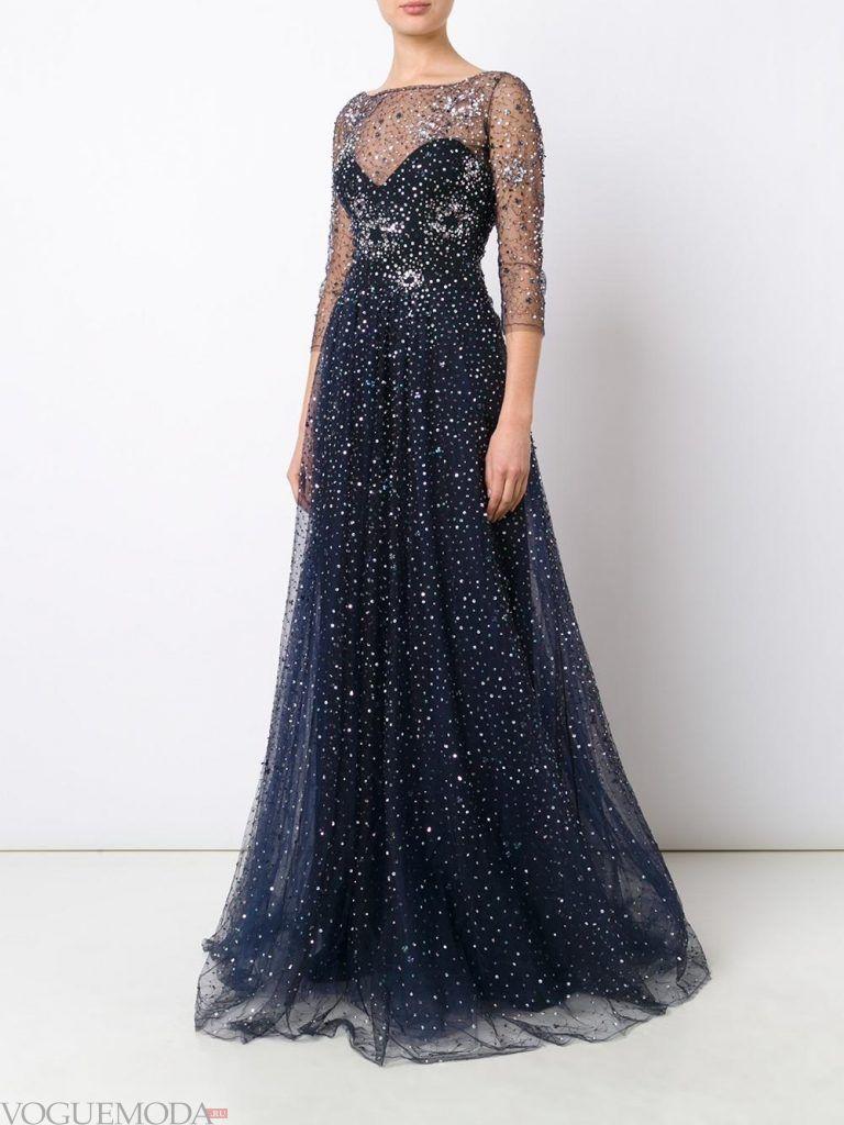 длинное выпускное платье легкое с декором