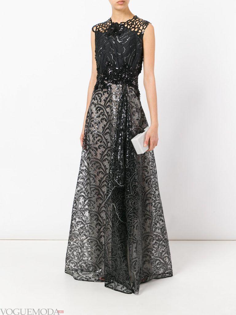 длинное выпускное платье легкое черное