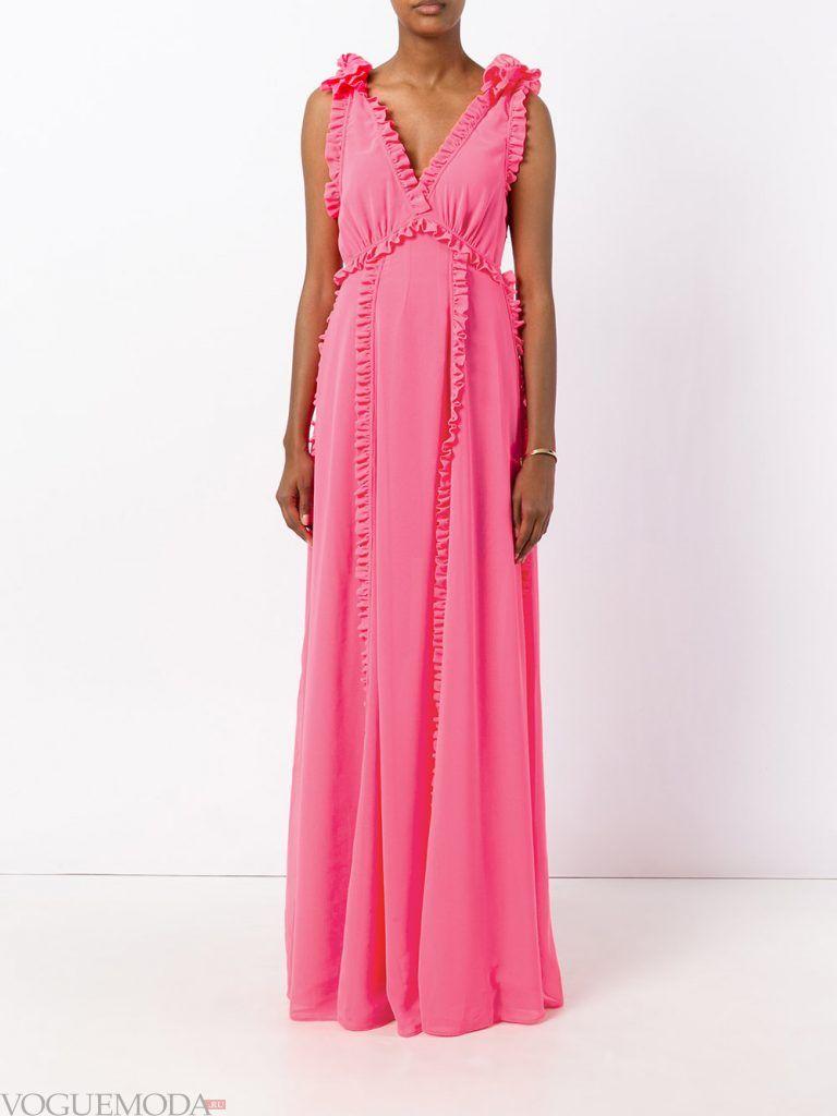 длинное выпускное платье легкое розовое