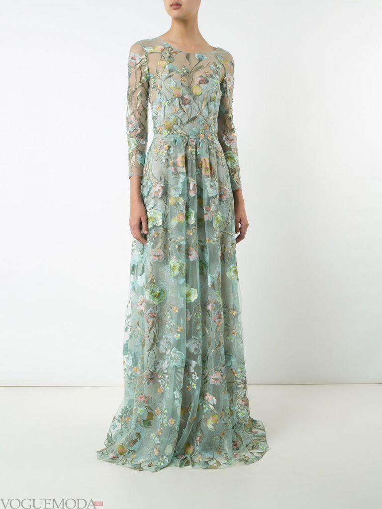 длинное выпускное платье легкое мятное