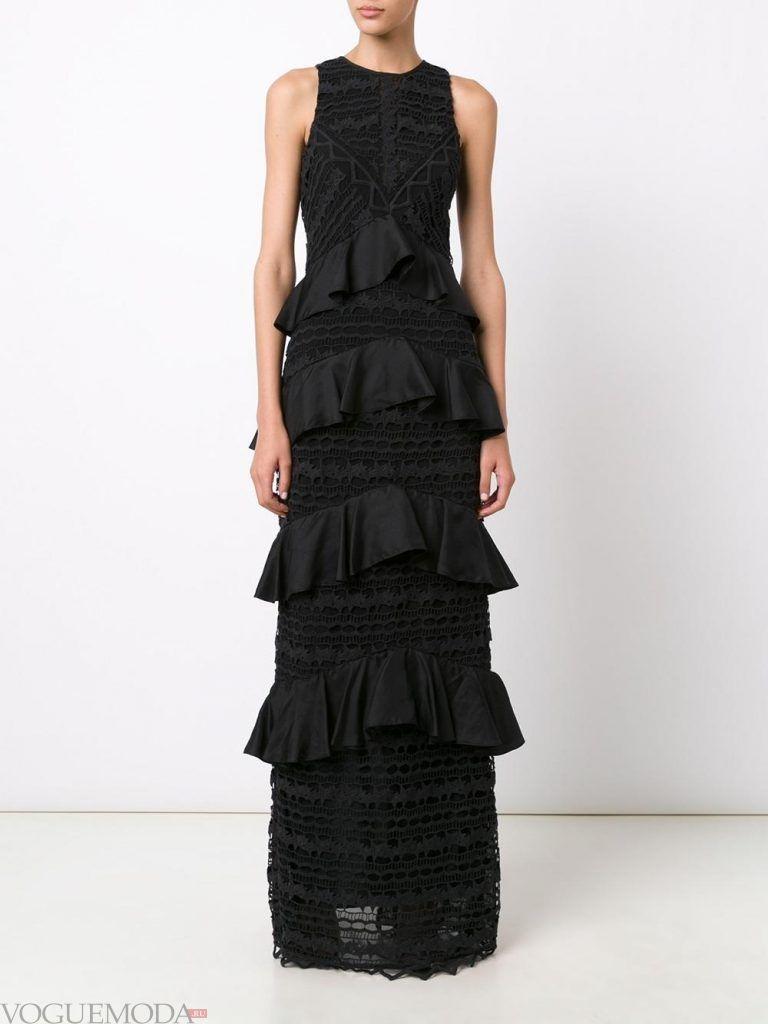длинное вечернее выпускное платье черное