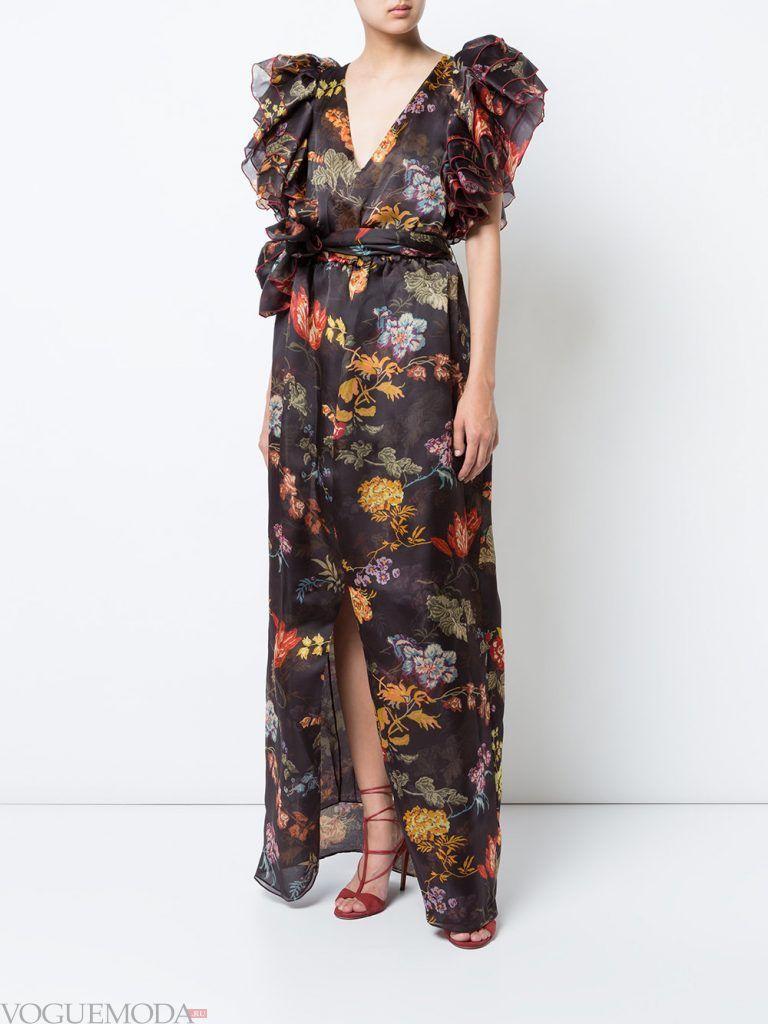 длинное вечернее выпускное платье в цветы