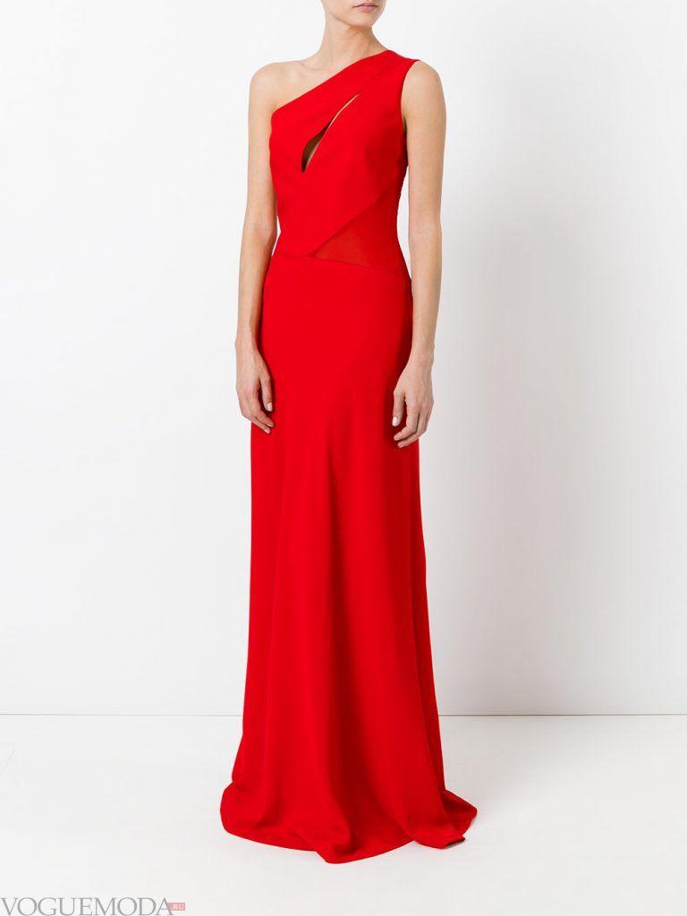 длинное выпускное платье на одно плечо красное
