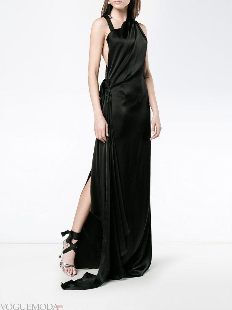 длинное выпускное платье с разрезом черное