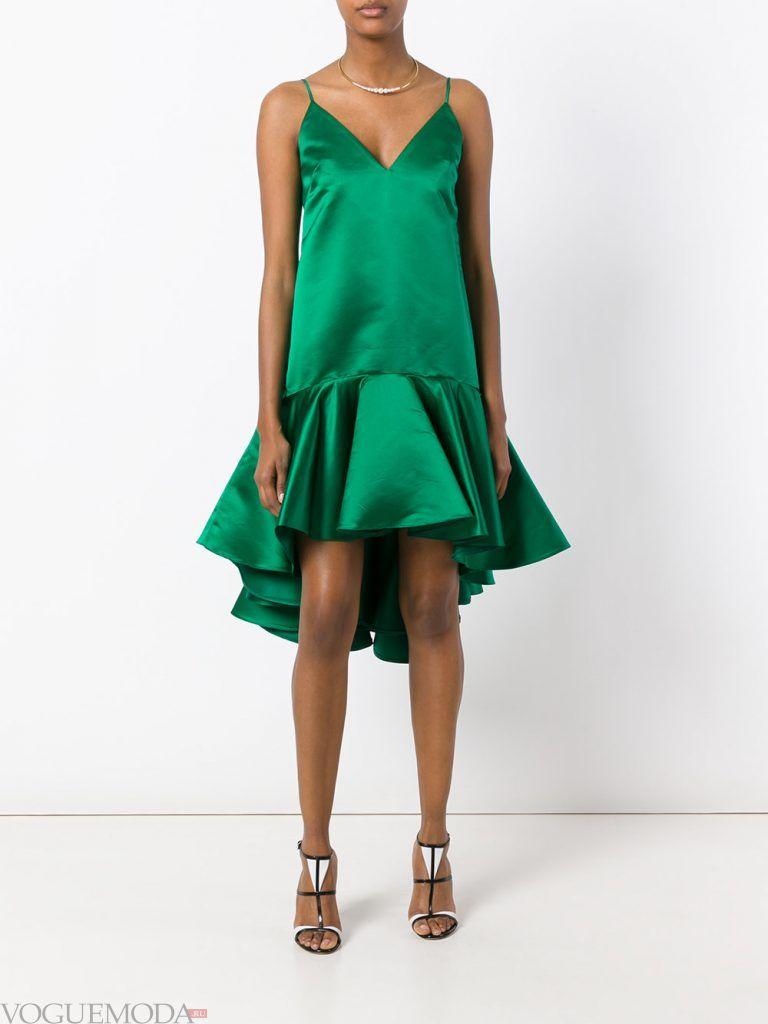 короткое выпускное асимметричное платье зеленое