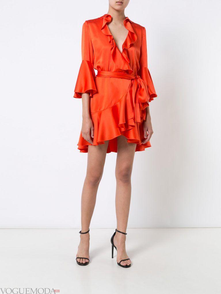 вечернее короткое выпускное платье оранжевое