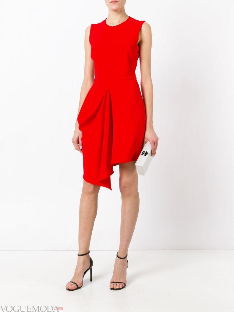 вечернее короткое выпускное платье красное
