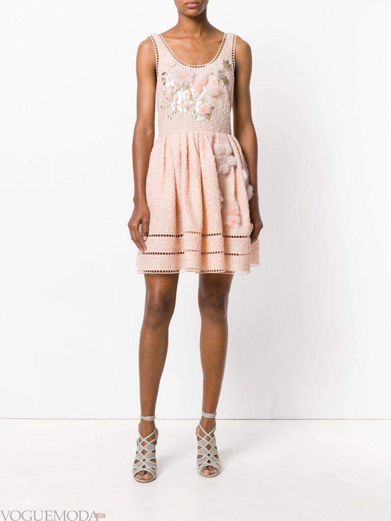 короткое выпускное пышное платье пудровое