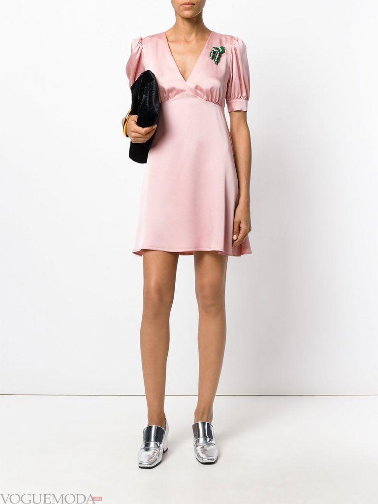 короткое выпускное платье ампир розовое