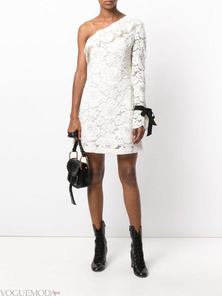 короткое выпускное асимметричное платье белое