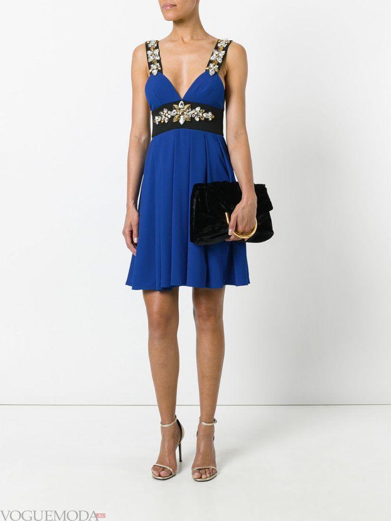 короткое выпускное платье ампир синее