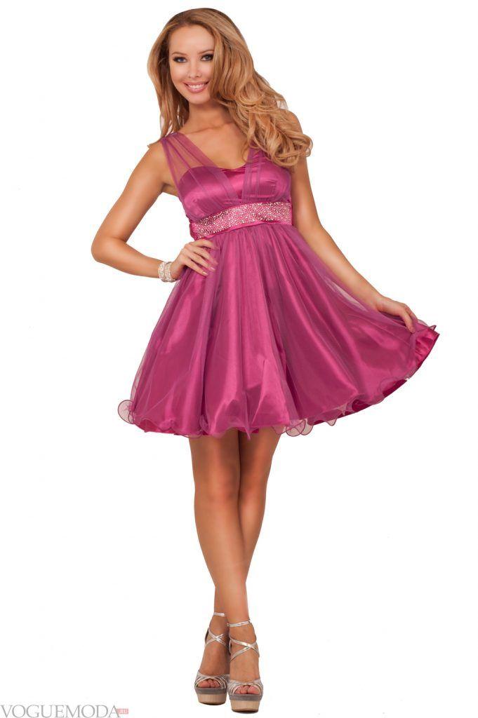 короткое выпускное платье ампир фиолетовое