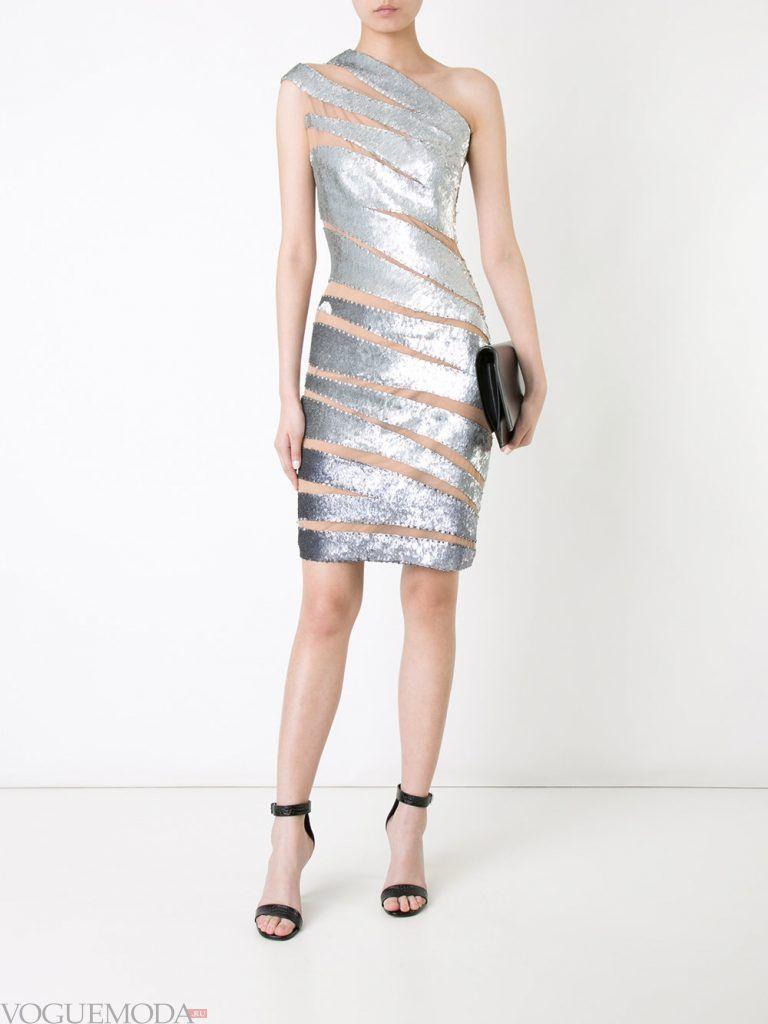 короткое выпускное платье футляр серебристое