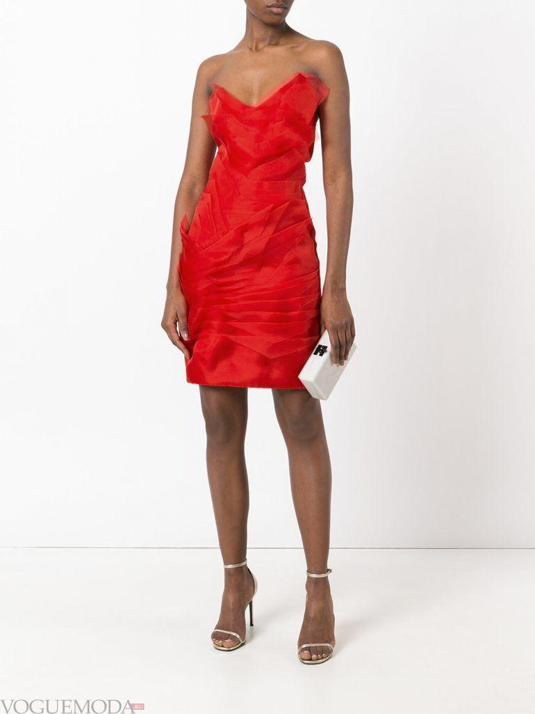 короткое выпускное платье тюльпан красное
