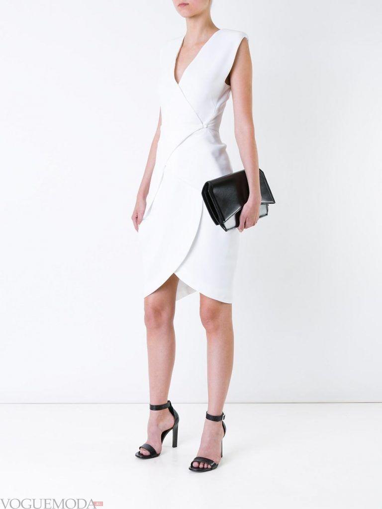 короткое выпускное платье тюльпан белое