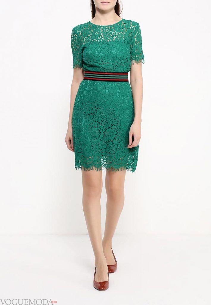 короткое выпускное платье с поясом зеленое