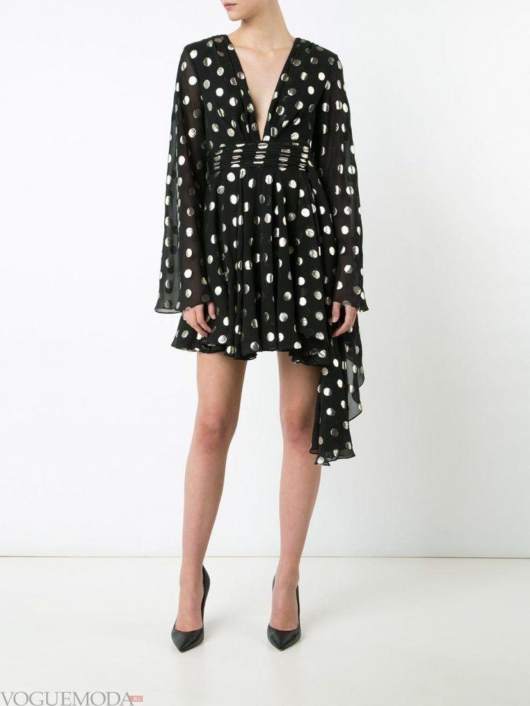 короткое выпускное асимметричное платье с принтом